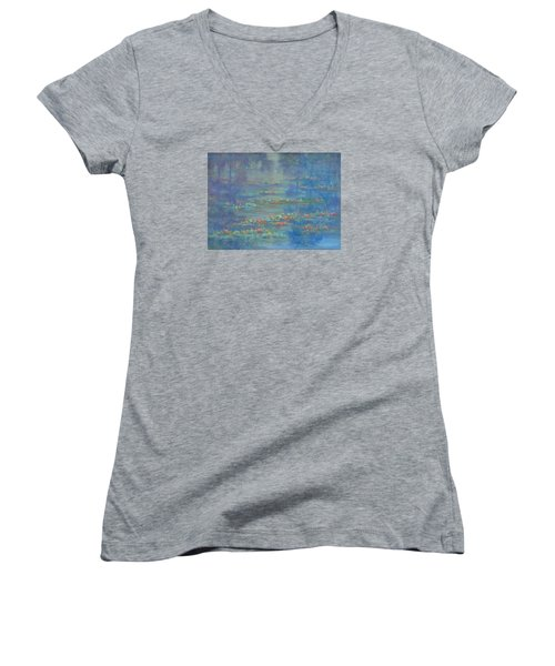 Monet Style Water Lily Pond Landscape Painting Women's V-Neck