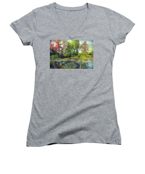 Monet's Afternoon Women's V-Neck T-Shirt (Junior Cut) by John Rivera