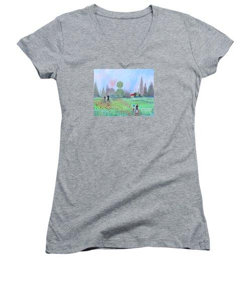Monet's Field Of Poppies Women's V-Neck T-Shirt
