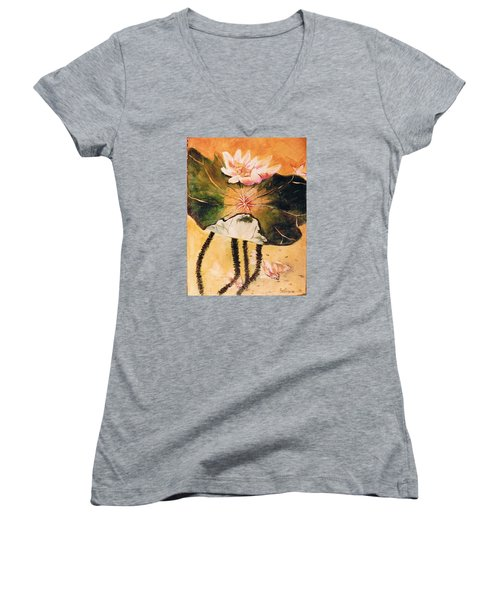 Monet's Water Lily Women's V-Neck T-Shirt