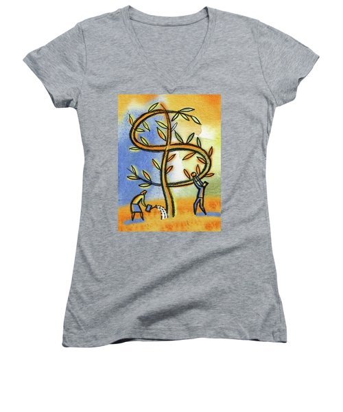 Women's V-Neck T-Shirt (Junior Cut) featuring the painting Money Tree by Leon Zernitsky