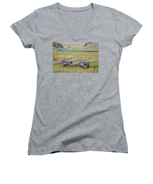 Women's V-Neck T-Shirt (Junior Cut) featuring the photograph Mongolian Ox Carts by Hitendra SINKAR