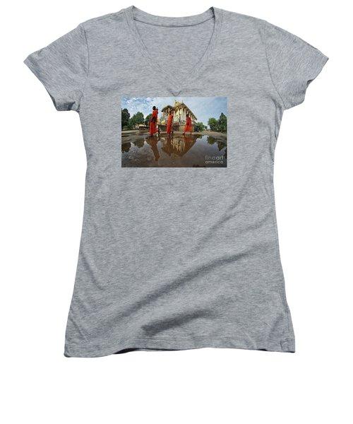 Monk Back Home Women's V-Neck T-Shirt