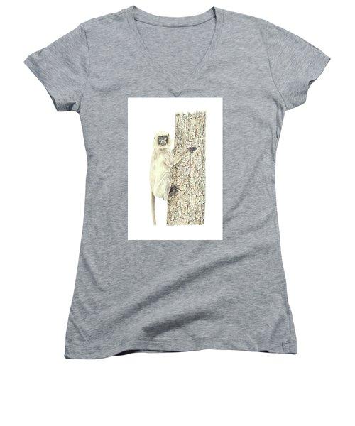 Monkey In The Tree Women's V-Neck