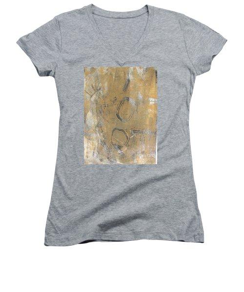 Women's V-Neck T-Shirt (Junior Cut) featuring the drawing Mono Print 003 - I Am Not Art by Mudiama Kammoh