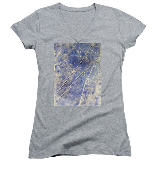 Women's V-Neck T-Shirt (Junior Cut) featuring the drawing Mono Print 007 -   Panda Ate All The Bamboo Leaves by Mudiama Kammoh