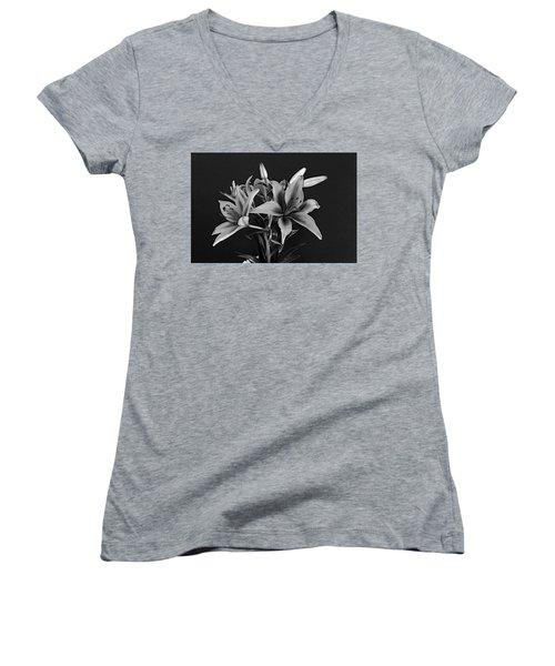 Monochrome Grace Women's V-Neck T-Shirt (Junior Cut) by Dorin Adrian Berbier