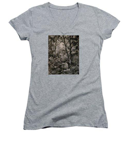 Monochrome Landscape 2 Women's V-Neck T-Shirt (Junior Cut) by Megan Walsh