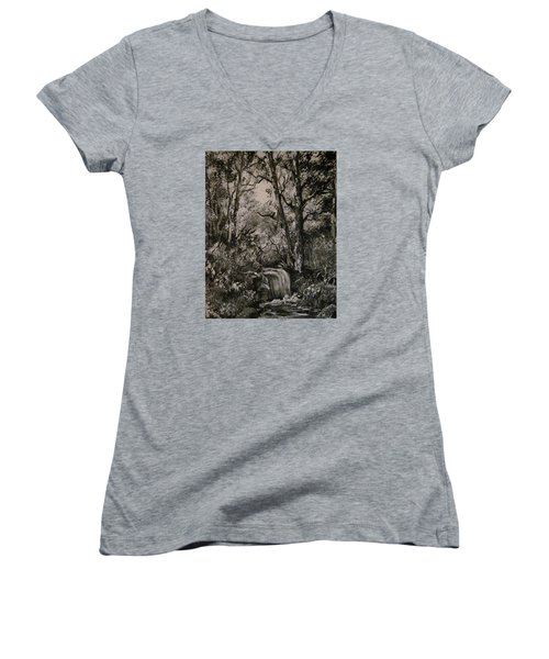 Monochrome Landscape 2 Women's V-Neck (Athletic Fit)