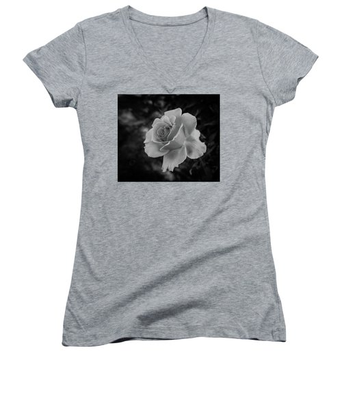 Monochrome Rose Macro Women's V-Neck (Athletic Fit)