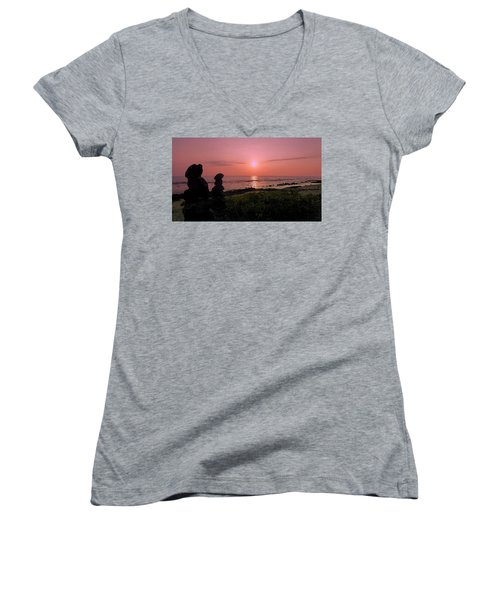 Women's V-Neck T-Shirt (Junior Cut) featuring the photograph Monoliths At Sunset by Lori Seaman