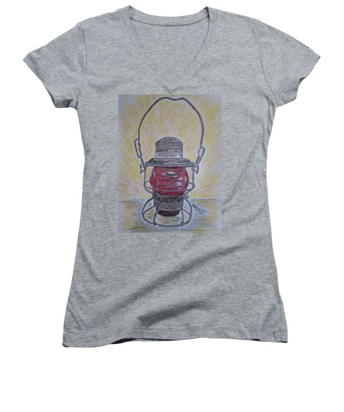 Women's V-Neck T-Shirt (Junior Cut) featuring the painting Monon Red Globe Railroad Lantern by Kathy Marrs Chandler