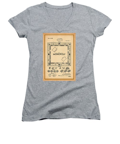 Monopoly Patent Drawing Women's V-Neck (Athletic Fit)