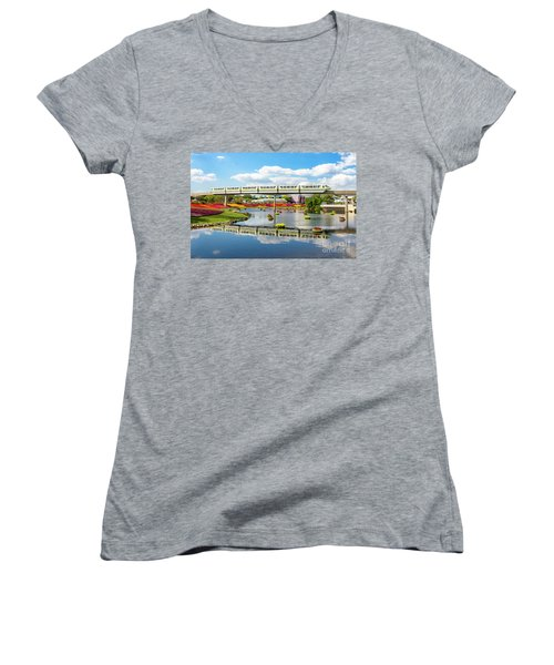 Monorail Cruise Over The Flower Garden. Women's V-Neck T-Shirt