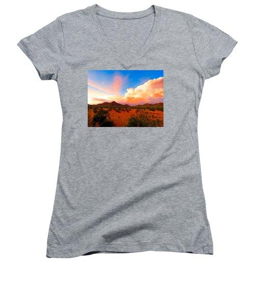 Monsoon Storm Sunset Women's V-Neck T-Shirt