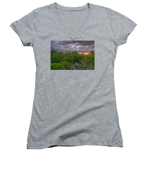 Women's V-Neck T-Shirt featuring the photograph Monsoon Sunset H56 by Mark Myhaver