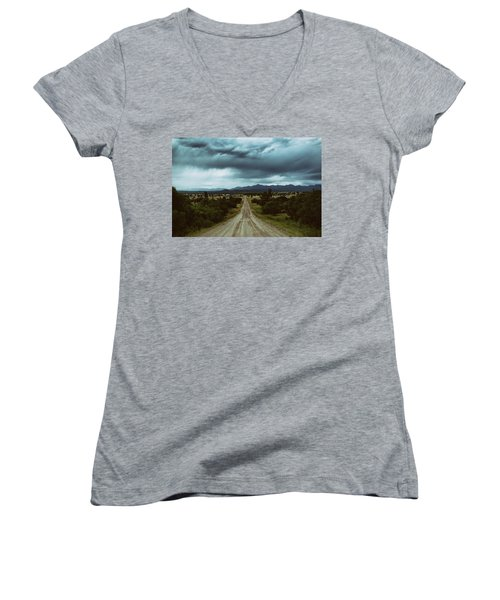 Monsoons From The Meadows Women's V-Neck T-Shirt (Junior Cut) by Jason Coward