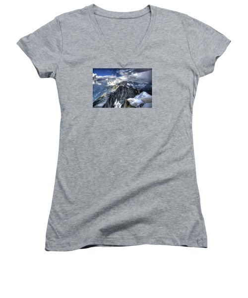 Mont Blanc Near Chamonix In French Alps Women's V-Neck T-Shirt (Junior Cut) by Shawn Everhart