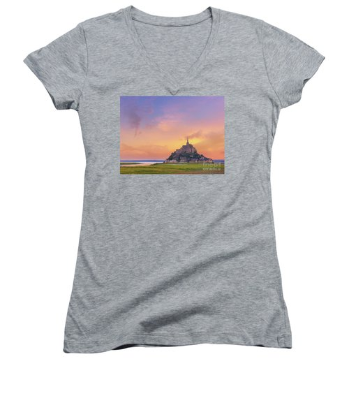 Mont-saint-michel At Dawn Women's V-Neck (Athletic Fit)