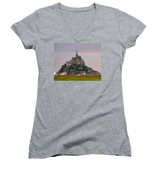 Mont Saint Michel Women's V-Neck (Athletic Fit)