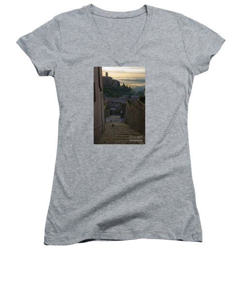 Women's V-Neck T-Shirt (Junior Cut) featuring the photograph Montalcino City by Yuri Santin
