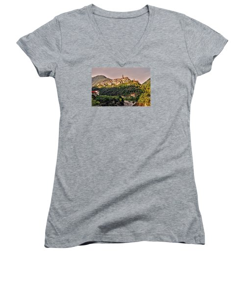 Montalto Ligure - Italy Women's V-Neck T-Shirt (Junior Cut) by Juergen Weiss