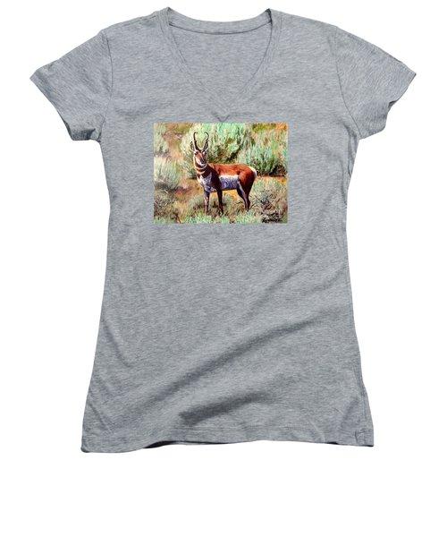 Montana Antelope Buck  Women's V-Neck T-Shirt (Junior Cut) by Ruanna Sion Shadd a'Dann'l Yoder