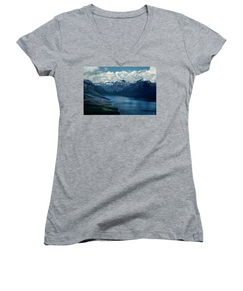 Montana Mountain Vista And Lake Women's V-Neck