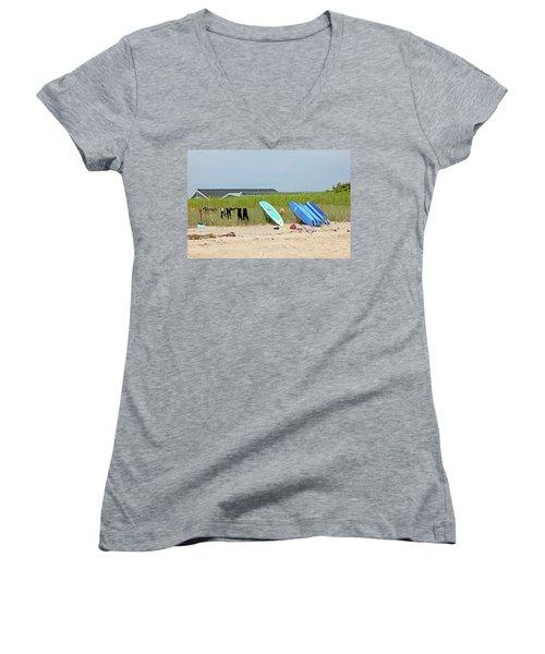 Women's V-Neck T-Shirt (Junior Cut) featuring the photograph Montauk Beach Stuff by Art Block Collections