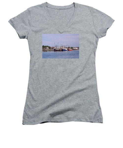 Montauk Fishing Boats Women's V-Neck (Athletic Fit)