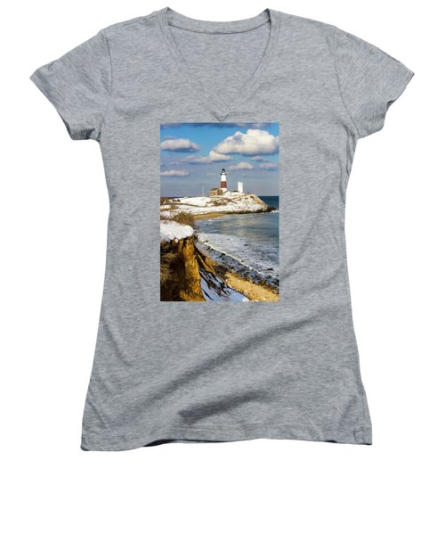 Montauk Lighthouse Winter Bluffs Women's V-Neck (Athletic Fit)