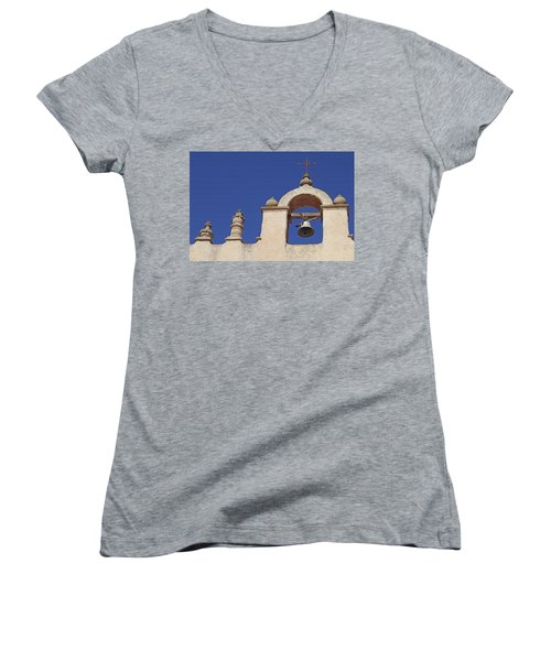 Women's V-Neck T-Shirt (Junior Cut) featuring the photograph Montecito Mt. Carmel Church Tower by Art Block Collections