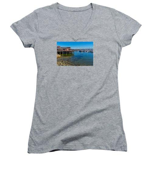 Monterey Harbor Morning Women's V-Neck T-Shirt