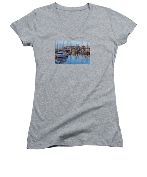 Monterey Marina Afternoon Women's V-Neck T-Shirt (Junior Cut) by Derek Dean