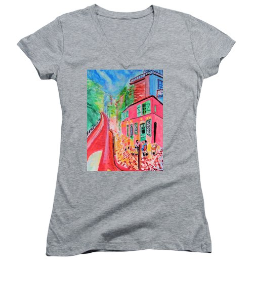 Montmartre Cafe In Paris Women's V-Neck (Athletic Fit)