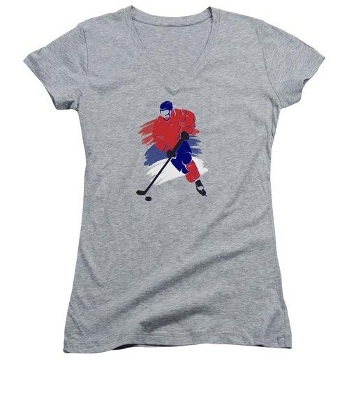 Montreal Canadiens Player Shirt Women's V-Neck T-Shirt (Junior Cut) by Joe Hamilton