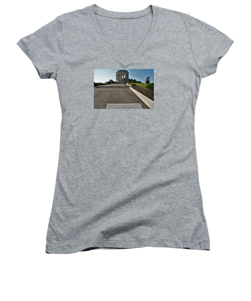 Montsec American Monument Women's V-Neck T-Shirt (Junior Cut) by Travel Pics