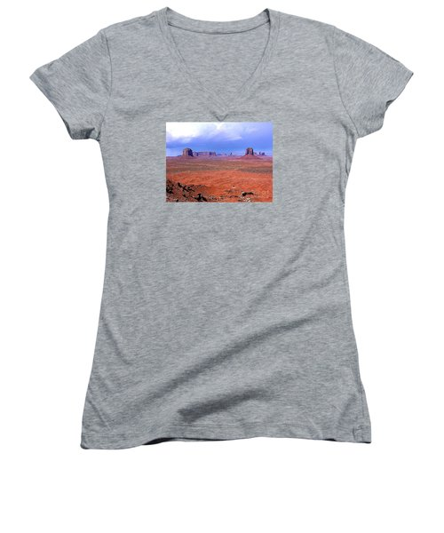 Women's V-Neck T-Shirt (Junior Cut) featuring the photograph Monument Valley Panorama Landscape by Merton Allen