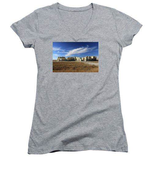 Monument Rock Afternoon  Women's V-Neck T-Shirt (Junior Cut) by Christopher McKenzie