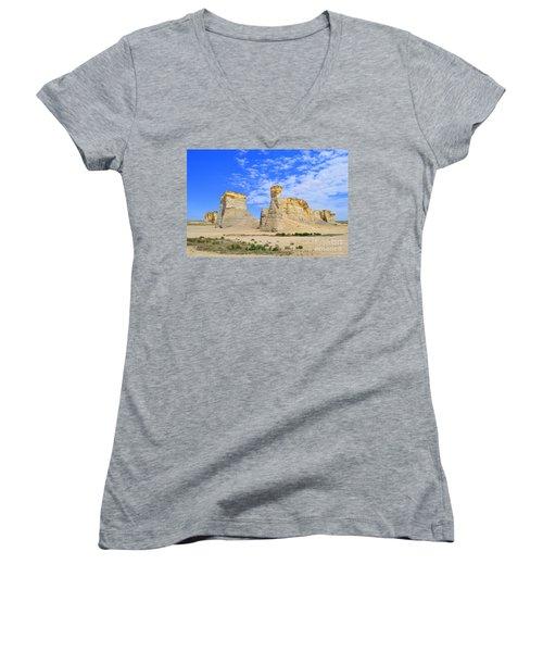 Monument Rocks In Kansas 2 Women's V-Neck T-Shirt