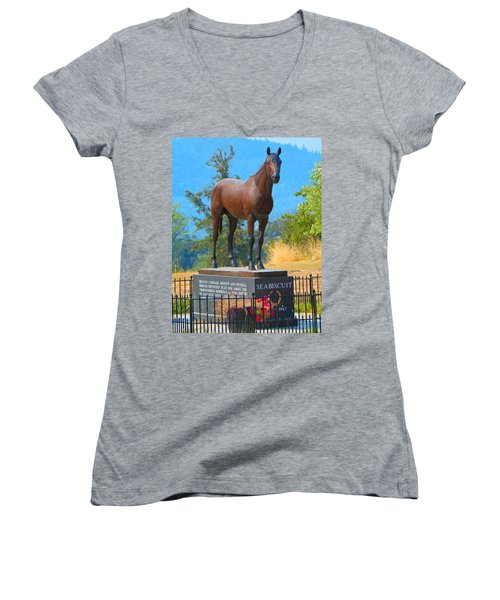 Monument To Seabiscuit Women's V-Neck (Athletic Fit)