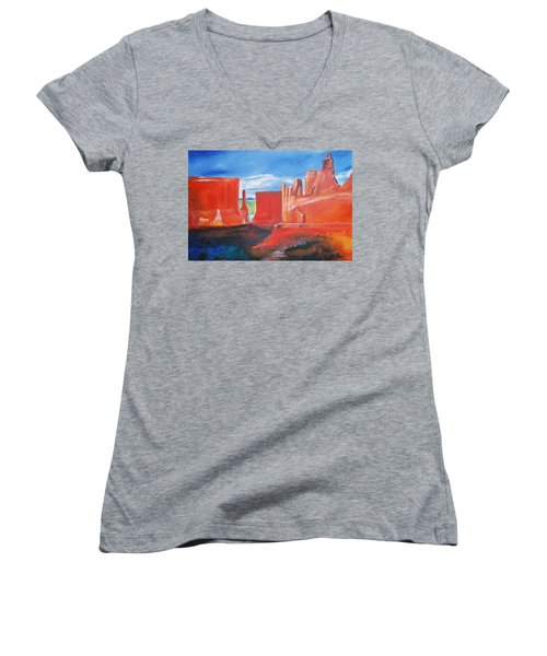 Women's V-Neck T-Shirt (Junior Cut) featuring the painting Monument Valley  by Eric  Schiabor