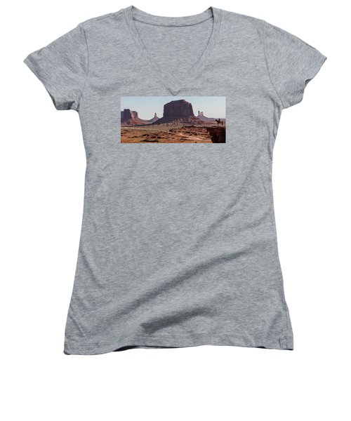 Monument Valley Man On Horse Sunrise  Women's V-Neck