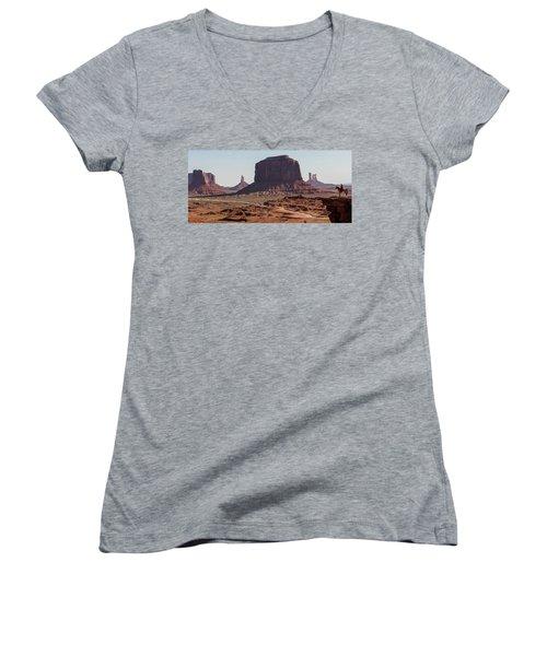 Monument Valley Man On Horse Sunrise  Women's V-Neck