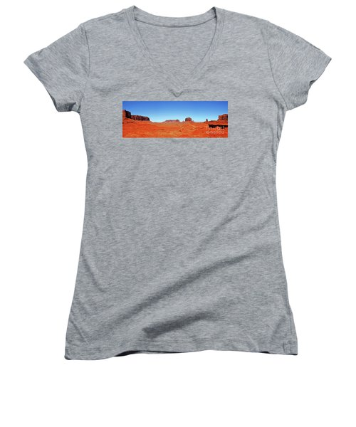 Women's V-Neck T-Shirt (Junior Cut) featuring the photograph Monument Valley Two by Paul Mashburn