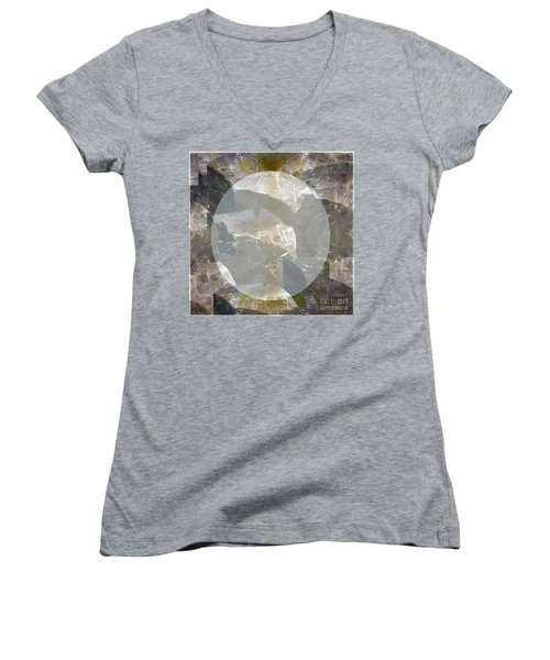 Moon Art On Stone Digital Graphics By Navin Joshi By Print Posters Greeting Cards Pillows Duvet Cove Women's V-Neck T-Shirt (Junior Cut) by Navin Joshi