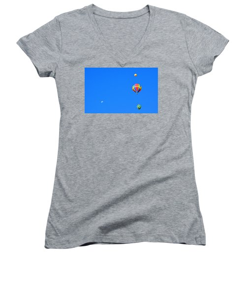 Women's V-Neck featuring the photograph Moon At 8 Oclock by AJ Schibig