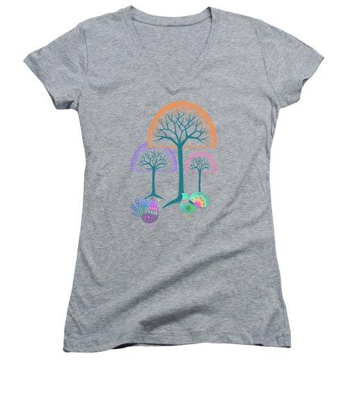 Moon Bird Forest Women's V-Neck T-Shirt (Junior Cut) by Little Bunny Sunshine