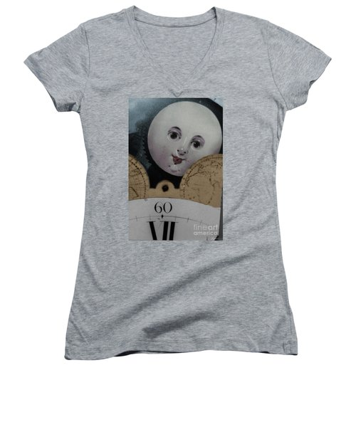 Moon Face Women's V-Neck (Athletic Fit)