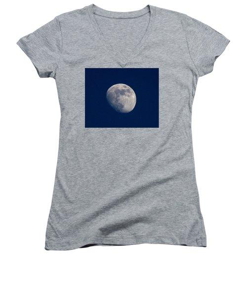 Moon From Bow, Wa Women's V-Neck T-Shirt (Junior Cut) by Karen Molenaar Terrell